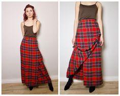 73baea00a7 Scotland kilt skirt / plaid skirt / Ladies red tartan skirt / wool tartan  skirt/ vintage maxi tartan