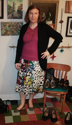Oh yeah, and I like the polka dot flats with this skirt. Old navy multicolored skirt pink long sleeve top - several cardigans to match. (I didn't feel like taking stockings or tights on and off, so imagine them on my pale legs.)