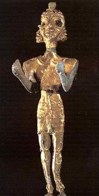 The figure of Baal in gold and silver foil. The storm god, Baal, was a West Semitic import to Egypt. Late Bronze Age texts discovered at Ras Shamra (ancient Ugarit) on the Levantine coast, from which his cult spread, indicate that by 1400 BC, Baal had displaced the god El to become the most important god in the local pantheon.