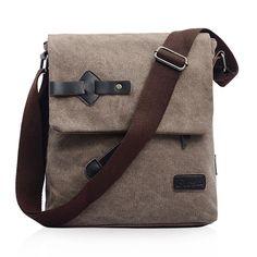 Male fashion casual one shoulder canvas bag travel school student men bag Messenger Korean Handbag $41.00