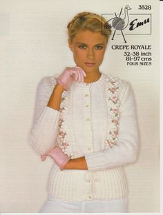b7e399697eb6da Cardigan with round neck and tie waist 80s knitting pattern