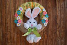 Crochet easter wreath door decoration easter door wreath door   Etsy Easter Crochet, Crochet For Kids, Easter Crafts To Make, Winter Theme, Easter Wreaths, Door Wreaths, Kids Wear, Decorating Your Home, Hanger