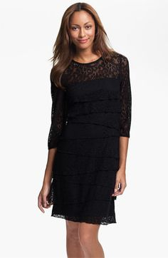 Laundry by Shelli Segal Illusion Yoke Tiered Lace Dress available at #Nordstrom