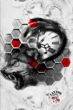 Uhr Wolf Tattoo Design Wolf Tattoo Design, Tattoo Designs, Wolf Tattoo Sleeve, Sleeve Tattoos, Trash Polka, Wolf Tattoos, Custom Tattoo, Drawing Reference, Sketch