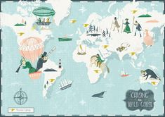 Wild Goose Chase - World map Illustration by Angela Keoghan Garden Illustration, Travel Illustration, The Wild Geese, Map Globe, City Maps, Travel Themes, Work Inspiration, Show And Tell, Map Art