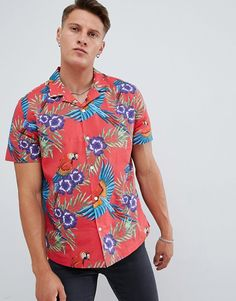 09bc133ad4a2d9 ASOS DESIGN oversized floral printed shirt in red with revere collar Revere  Collar