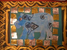 The Elementary Art Room!: Egyptian Blue Faience Hippos A great take on William!  Love the border & background