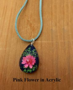 Pink Flower Pendant. Pink flower in acrylic on green leather. Gift for her. Birthday gift. Friendship gift. Anniversary gift. Handcrafted. by BettyCampbell on Etsy