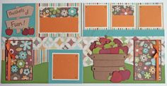 fall harvest scrapbook layouts | ... Fall-Apples- 12x12 premade scrapbook pages- Autumn Harvest scrapbook