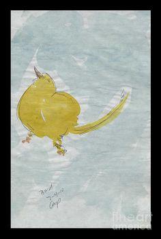 Yellow Bird Chick On The Floor Painting  - Yellow Bird Chick On The Floor Fine Art Print