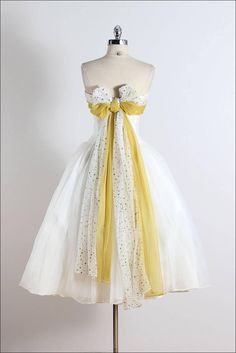Vintage 1950s White Yellow Star Chiffon Party Dress | From a collection of rare vintage evening dresses and gowns at https://www.1stdibs.com/fashion/clothing/evening-dresses/