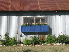 SAND FLAT FARM: Re-furbished Window Box window box decorated with a painted old shutter on front!