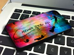 Disney Galaxy Nebula Peter Pan Never Grow Up Quote  - Personalized Case for iPhone 4/4s, 5, 5s, 5c, Samsung S3, S4