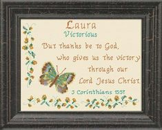 Cross Stitch Laura2 with a name meaning and a Bible verse