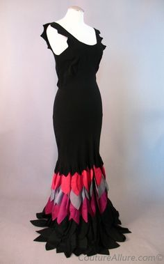 vintage evening dresses from the 1930's   Vintage 30s Evening Gown Dress Petal Hem