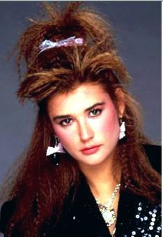 Demi Moore with crimped hair - an 80s trend that I never could master since my hair is so curly