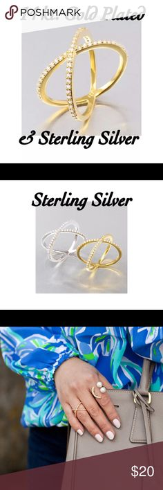 """🎉11/6 HP✨New! Gold Stackable Pave """"X"""" Ring This delicate X ring features gorgeous pave crystals!  Stylish, trendy, and perfect for stacking with your favorite styles!  Pave crystals 14Kt Gold Plated over Sterling Silver Nickel Free/Lead Free Jewelry Rings"""