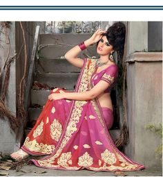 $178.27 Pink Art Silk Saree 20554 With Unstitched Blouse