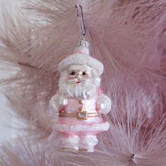 Pink Santa Ornament