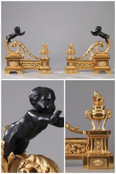 """Gilt and Patinated Bronze Andirons """"à enfants arabesques"""" in Louis XVI Style. After a model by Jean-François Forty produced in bronze by the Jean-Noël Turpin foundry in 1785."""