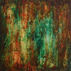 green abstract painting orange rust industrial modern original urban drip wood turquoise yellow brown Leah Fitts Art