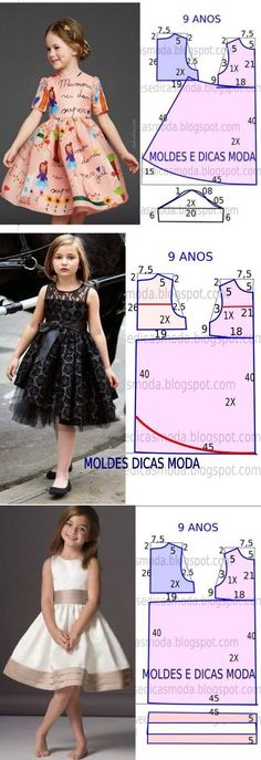 Sewing Ideas 10 patrones de vestidos para niñas - hecho a mano - 10 выкроек платьев для девочек — HandMade Baby Dress Tutorials, Baby Dress Patterns, Skirt Patterns, Coat Patterns, Blouse Patterns, Sewing Clothes, Diy Clothes, Dress Clothes, Barbie Clothes