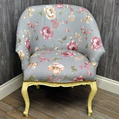 Antique Cream Finish French Style Louis Arm Chair with Blue Rose Floral Fabric