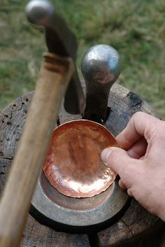 Copper Smithing (Raising a Bowl) More hammering of the copper by sirchuckles on Flickr. Blacksmith Tools, Blacksmith Projects, Metal Projects, Metal Crafts, Copper Crafts, Jewelry Tools, Metal Jewelry, Metal Working Tools, Forging Metal