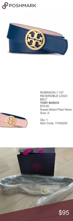 Tory Burch Robinson Reversible Belt Baby Pink/Blue Brand new in original packaging. No tag on the belt but that's how it came. It's 40.5 inches. Tory Burch Accessories Belts