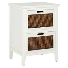 """White pine wood nightstand with two drawers.   Product: NightstandConstruction Material: Pine woodColor: WhiteFeatures:  Two spacious drawersWoven panel Dimensions: 24.2"""" H x 16.9"""" W x 14.2"""" D"""