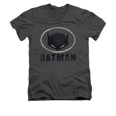Batman - Mask In Oval Adult V-Neck T-Shirt
