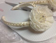 Ivory Bridal Flip Flops / Wedding Shabby flower Flip Flops / Bridesmaids flip flops.. $35.00, via Etsy.