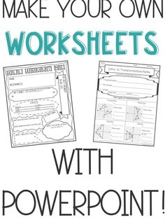 Make your own resources with PowerPoint! Six easy steps to make your own worksheets, assessments, and more! Teacher Hacks, Special Education, Assessment, Worksheets, Make It Yourself, Easy, How To Make, Life, Collections