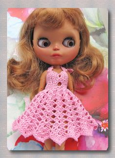 Crocheted Yarn Dress on Blythe Free Shipping Doll by Shopdollwithowl on Etsy