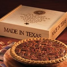 "Texas pecan pie from Goode & Co.  A nine-inch pecan pie served in a pine gift box. But this is no ordinary pie. It is a Texas pecan pie, which means it is bigger and gooier and richer than any other ""real deal"" out there, chock full of fresh Texas pecans harvested from the banks of the Brazos River—pecans that we still crack by hand in the wee hours of the morning before nestling them into luscious layers of homemade Goodeness."