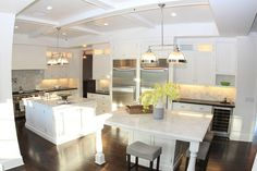 Marc Anthony's California home's kitchen and marble island