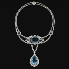 Fine and Important Aquamarine and diamond necklace, Cartier, 1912