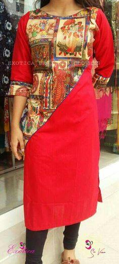 Salwar Pattern, Kurti Patterns, Dress Patterns, Kurti Neck Designs, Blouse Designs, Casual Work Outfits, Chic Outfits, Kalamkari Kurti, Kurtha Designs