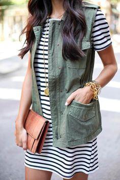 Striped dress + utility vest