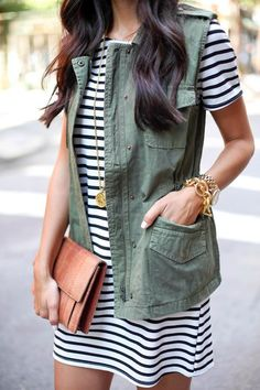 Striped dress + utility vest