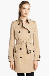 Burberry London 'Buckingham' Double Breasted Cotton Trench