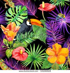 Tropical leaves, exotic flowers, toucan bird, gecko. Seamless pattern in neon light. Watercolor
