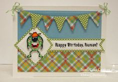 North Coast Creations Stamp Set: Little Monsters, North Coast Creations Custom Dies: Monsters, Our Daily Bread Desigsn Paper Collection: Birthday Brights, Our Daily Bread Designs Custom Dies:	 Pennant Row, Pennant Flags, Squares