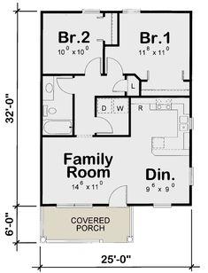 Two Bedroom Tiny House, Two Bedroom Floor Plan, One Bedroom House Plans, Small House Floor Plans, Bathroom Floor Plans, Best House Plans, Small Cottage Homes, Cottage House Plans, Tiny Homes