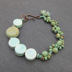 Leaf bracelet OOAK jewelry ceramic leaf bead bracelet by BeadyDaze, £18.00