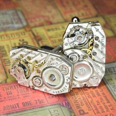 ba74802a0022 ILLINOIS Watch Suit and Tie Cufflinks Cuff Links - Torch SOLDERED - Antique  Silver Steampunk Movements w Pin Striping - Wedding Anniversary
