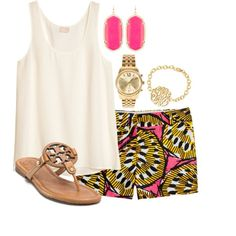 Spring school attire by chelseadouglas on Polyvore featuring H&M, J.Crew, Tory Burch, Kendra Scott and Michael Kors