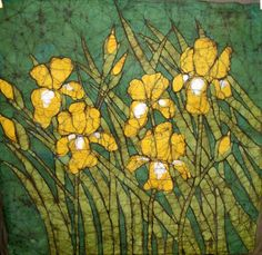 Five Iris - Batik on Cotton Muslin - Kristine Allphin Brakenhoff is an award winning artist. Her experience and education in illustration and graphic design brings an original style, sensitivity and craftsmanship to her batik work. --  To see a gallery of original framed fine art batiks or to learn of upcoming exhibits and workshops, please visit her website at http://kristine-allphin.artistwebsites.com/