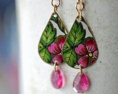 Vintage Tin Teardrop Earrings Pink Multicolor by EntwyneDesigns