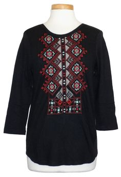 Lucky Brand Womens Shirt Embroidered Top Knit Super Soft Tee Black XS NEW $59.50 #LuckyBrand #KnitTop #Casual